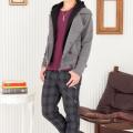 7分袖ラグランTシャツ×フードレイヤードPコート×ベルト付きチェックパンツ(3点セット)