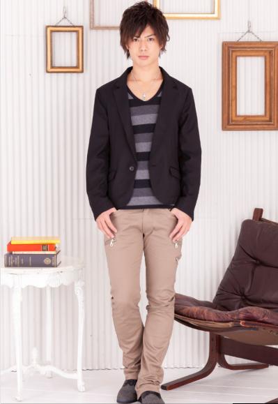 テーラードジャケット×マルチボーダーTシャツ×3ZIPスキニーブーツカットパンツ(3点セット)