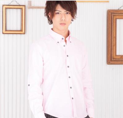 オックスフォード長袖ボタンダウンシャツ(ピンク)
