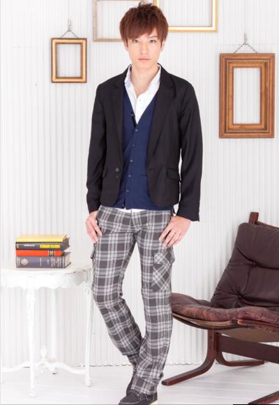 テーラードジャケット×シャツ+カーディガンアンサンブル×チェックカーゴパンツ(3点セット)