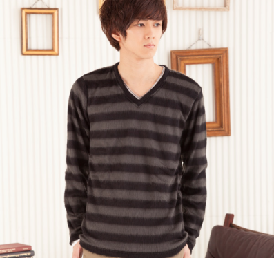 長袖Tシャツ+ボーダーシャギーニットアンサンブル(2点セット)(ブラック)