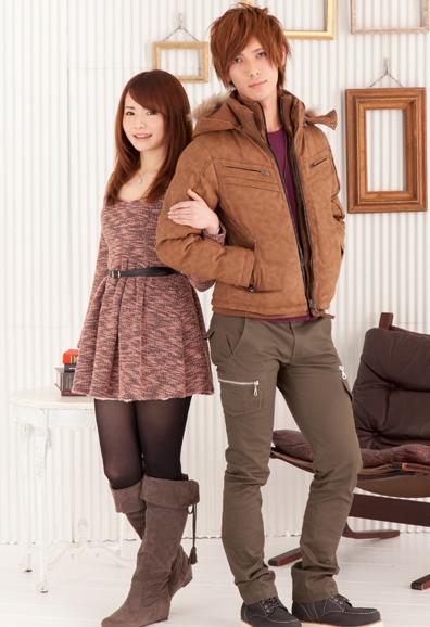 PUレザー中綿ジャケット×7分袖ラグランTシャツ×タイトカーゴパンツ(3点セット)