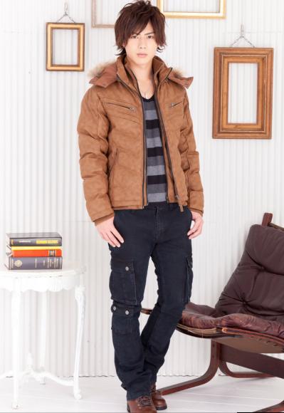 マルチボーダーTシャツ×PUレザー中綿ジャケット×カーゴパンツ(3点セット)