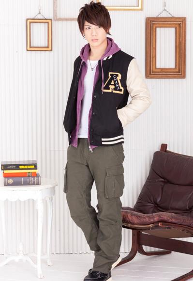 メルトンスタジャン×Zipパーカー×テレコ長袖UネックTシャツ×6ポケットカーゴパンツ(4点セット)