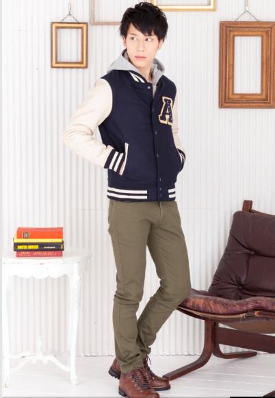 長袖Tシャツ×ジップパーカー×メルトンスタジャン×スキニーパンツ(4点セット)