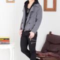 マルチボーダーTシャツ×フードレイヤードPコート×ブーツカットパンツ(3点セット)