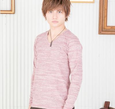 段染めVネック長袖Tシャツ(杢ピンク)