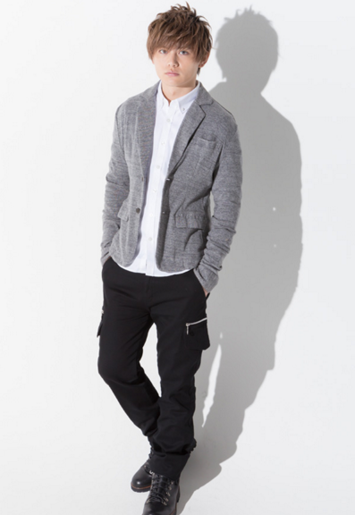 ーラードジャケット×長袖シャツ×半袖T×カーゴパンツ(4点セット)