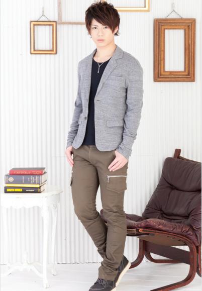 ライス長袖テーラードジャケット×テレコ長袖UネックTシャツ×タイトカーゴパンツ(3点セット)