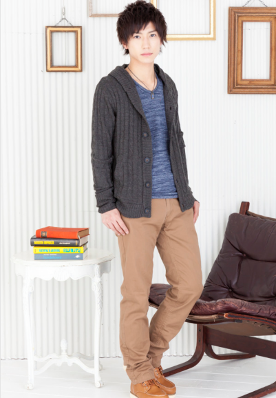 ニットカーディガン×長袖Tシャツ×ツイルチノパンツ(3点セット)