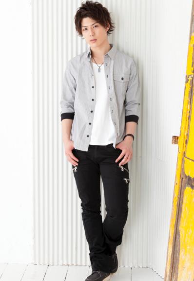 ストライプリブ七分袖シャツ×半袖Tシャツ×スキニーブーツカットパンツ(3点セット)