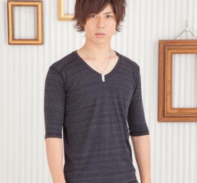 トリッキー杢フライスVネック五分袖Tシャツ(ブラック)