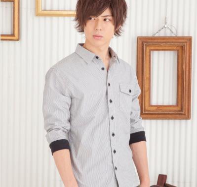 ストライプリブ七分袖シャツ(ブラック)☆