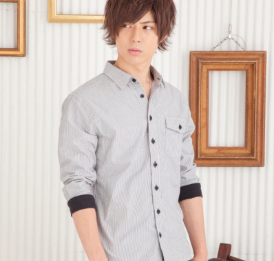 ストライプリブ七分袖シャツ(ブラック)