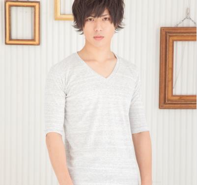 トリッキー杢フライスVネック五分袖Tシャツ(ホワイト)