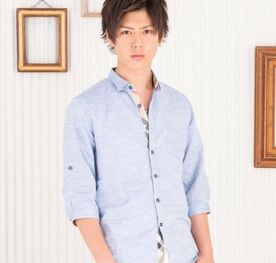 ライン入り綿麻七分袖シャツ(ブルー)★