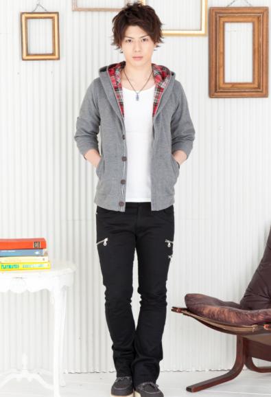 チェック七分袖パーカー×7分Tシャツ×スキニーブーツカットパンツ(3点セット)