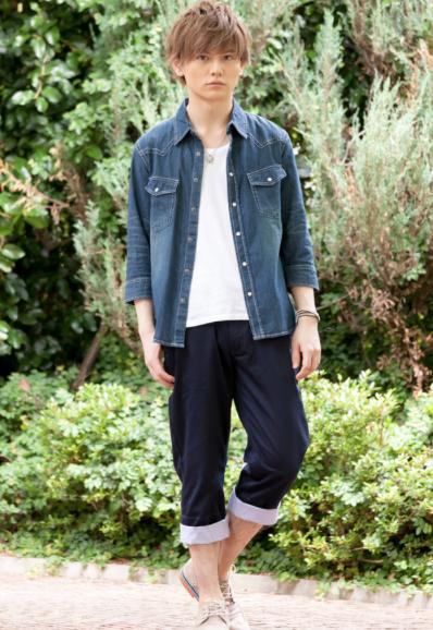 七分袖デニムウエスタンシャツ×Uネック半袖T×ベルト付きクロップドパンツ