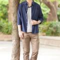 綿麻七分袖シャツx半袖レイヤードTシャツ×3ZIPスキニーブーツカットパンツ