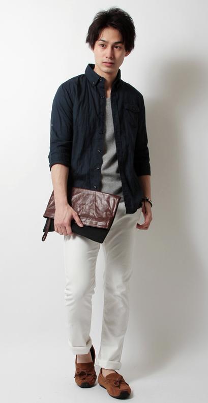 日本製シワ加工綿麻7分袖シャツ