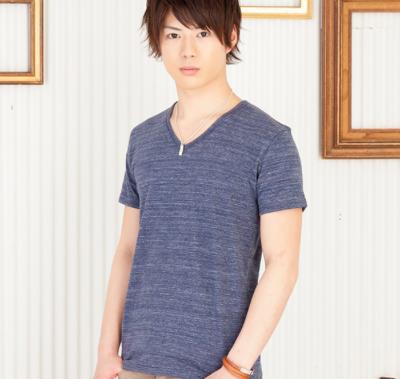 ブロス杢Vネック半袖Tシャツ(ネイビー)