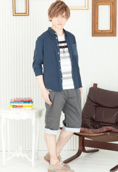 ブロードシャツ×ボーダー半袖Tシャツ×ショートパンツ