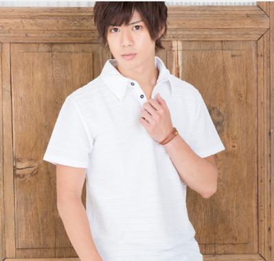タックジャガード半袖ポロシャツ(ホワイト)