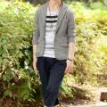 テーラードジャケット×ボーダー半袖Tシャツ×ショートパンツ(3点セット)
