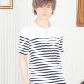 パネル切替ボーダー半袖Tシャツ(ホワイト)