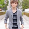 七分袖テーラードジャケット(グレー)