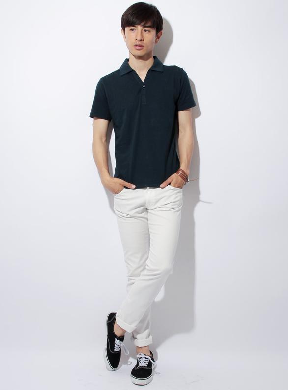 スプSPU別注 日本製Vネック半袖ポロシャツ