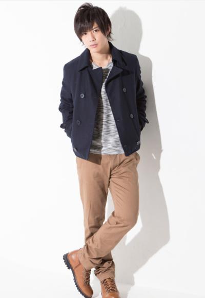 ショートPコート×長袖T×チノパン(3点セット)