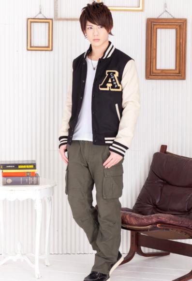 メルトンスタジャン×テレコ長袖UネックTシャツ×6ポケットカーゴパンツ(3点セット)