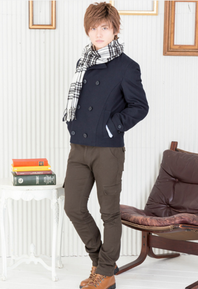 Pコート×長袖シャツ×半袖T×カーゴパンツ(4点セット)