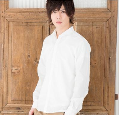ホリゾンタルカラー長袖シャツ(ホワイト)