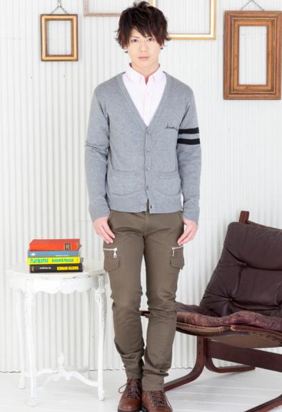 カーディガン×長袖シャツ×カーゴパンツ(3点セット)