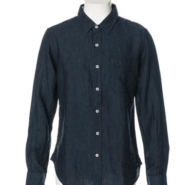 麻100長袖フレンチリネンシャツ(ネイビー)