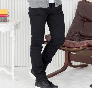 メンズファッションプラス テーパード5ポケットパンツ(ブラック)