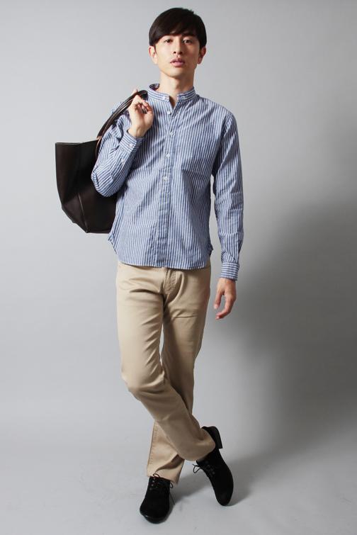 スプートニクス 日本製バンドカラー長袖シャツ