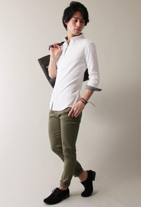 クールマックスシアサッカ―6分袖:長袖カットシャツ
