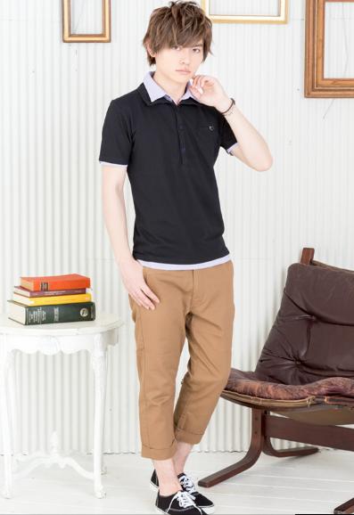 レイヤード半袖ポロシャツ×クロップドパンツ(2点セット)