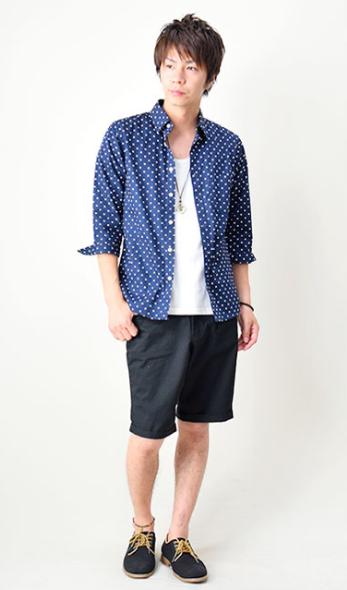 7分袖 Yシャツ カジュアルシャツ ブロードシャツ