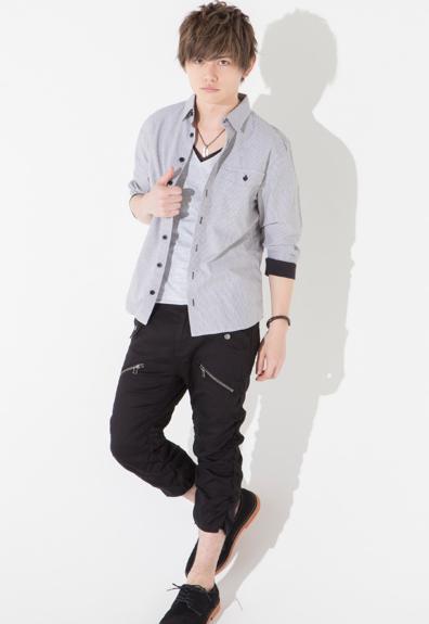 リブ七分袖シャツ×半袖レイヤードT×クシュクシュクロップドパンツ(3点セット)