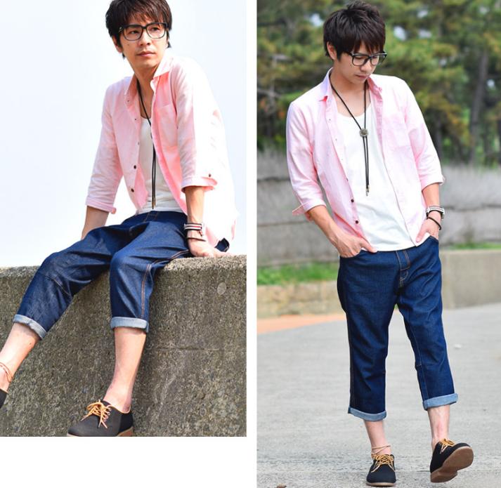 麻混シャツ ピンク