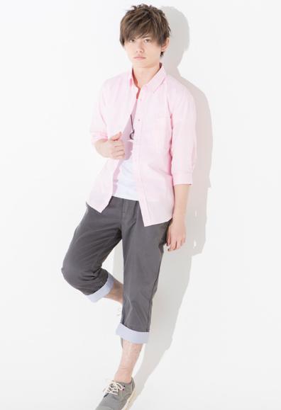 7分袖ブロードシャツ×半袖T ×クロップドパンツ