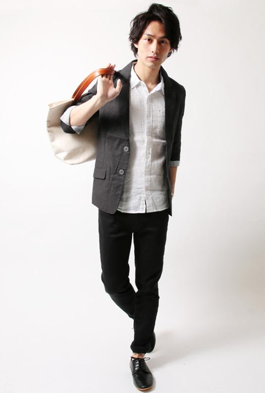 綿麻ストレッチ7分袖 テーラードジャケット
