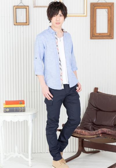 綿麻七分袖シャツ×半袖T×ツイルデザインパンツ