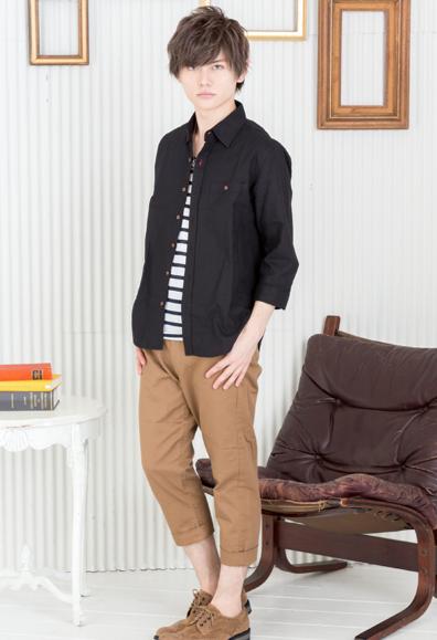 綿麻七分袖シャツ+ボーダー半袖Tシャツアンサンブル×クロップドパンツ