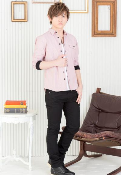 ストライプリブ七分袖シャツ×半袖T×カツラギストレッチチノパン(3点セット)