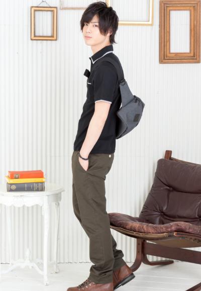 W襟半袖ポロシャツ×チノパン(2点セット)